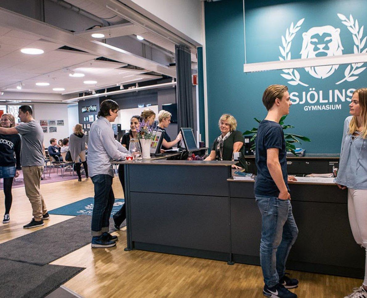 Interiör i Sjölins Gymnasium.